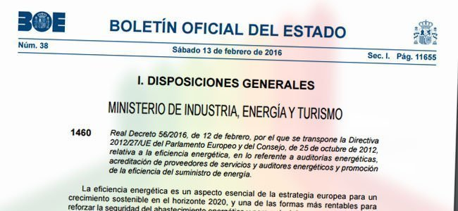 Auditorías energéticas y el Real Decreto 56/2016